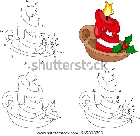 Christmas cartoon candle. Coloring book and dot to dot educational game for kids