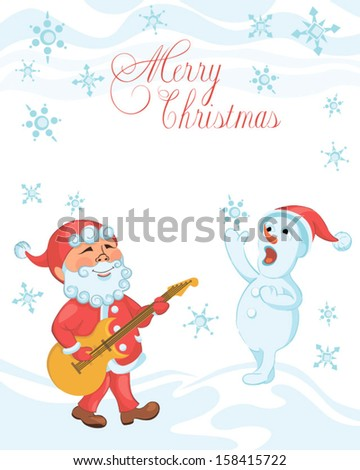 Christmas cartoon card with playing the guitar Santa and singing snowman. Solid fill, eps 8 format, outline lettering