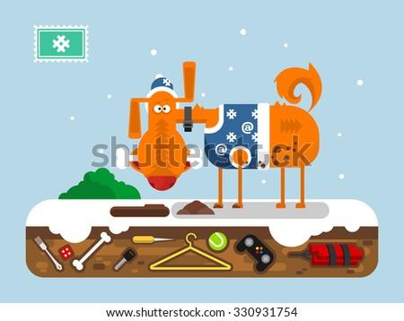 christmas cartoon dog animal