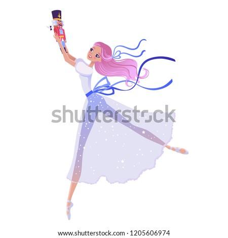 Christmas cartoon illustration from Nutcracker's story. Cute cartoon character from winter tale and ballet. Beautiful dancer ballerina. Vector illustration.