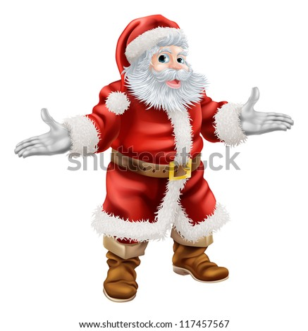 Christmas cartoon illustration of full body standing happy Santa Claus
