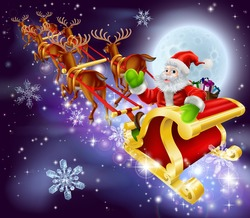 Christmas cartoon illustration of Santa Claus flying in his sled or sleigh through the night sky with moon in the background