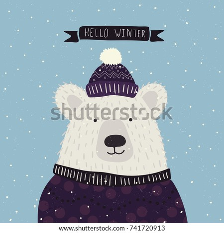Christmas cartoon New Year characters. Bear in winter clothes. Greeting card design in blue and violet colors. Forest animals, mottos, winter holiday. Vector