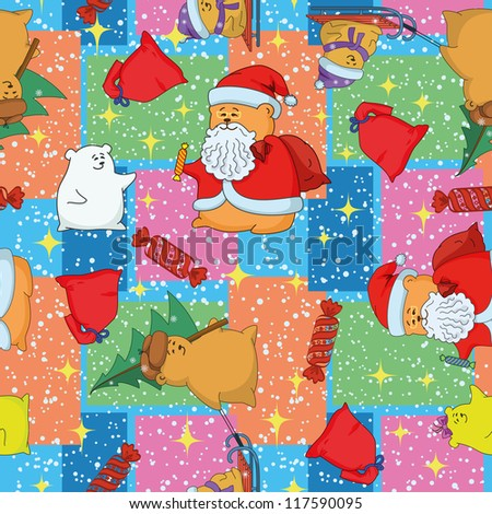 Christmas cartoon seamless background for holiday design with toys characters. Vector - stock vector