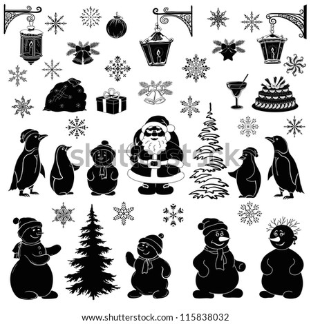 Christmas cartoon, set black silhouettes on white background: Santa Claus, penguins, snowmans and various objects - symbols of the holiday. Vector