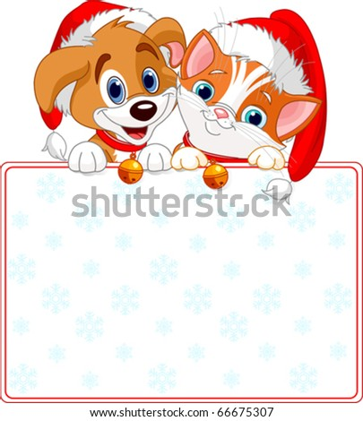 christmas cat and dog holding