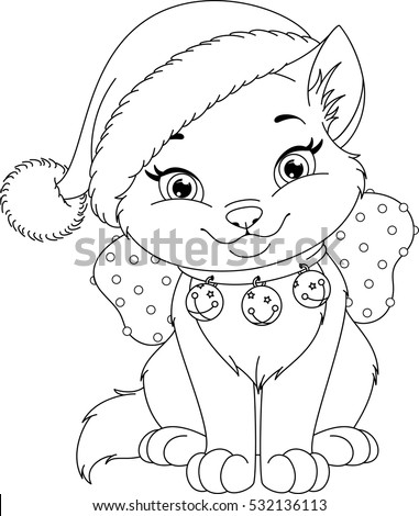 Vector Images Illustrations And Cliparts Christmas Cat Coloring