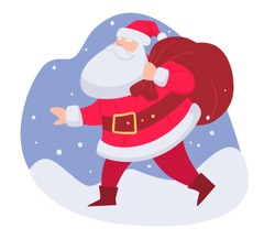 Christmas celebration and winter holidays greetings. Santa claus carrying bag with presents for obedient kids. New year and xmas character with sack of gifts for children, vector in flat style