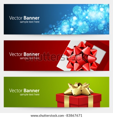 Christmas celebration vector banner or header set eps 10
