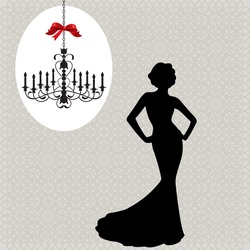 christmas chandelier  and glamour woman silhouette