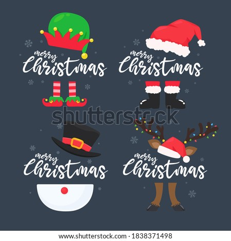 Christmas character costume wearing merry christmas shoes and hat with messages. Photo stock ©