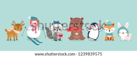 Christmas characters - animals, snowmen, Santa Claus. Cute Woodland characters, bear, fox, raccoon, deer, penguin and rabbit. Vector illustration.