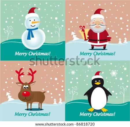 Christmas characters - Deer Rudolf, Santa Claus, Snowman, Penguin. Vector illustration. Special Pack.