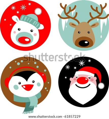 Christmas characters Santa reindeer penguin and polar bear