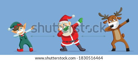 Christmas Characters Social Distancing During Pandemic Outbreak. Santa Claus working next to reindeer and magic elf for a safe Holiday  Stock photo ©