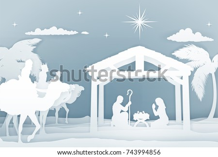 Christmas Christian Nativity Scene of baby Jesus in the manger with Mary and Joseph in silhouette. With the three wise men magi. In a vintage paper art style.