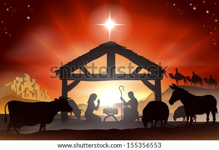 Christmas Christian nativity scene with baby Jesus in the manger in silhouette, three wise men or kings, farm animals and star of Bethlehem