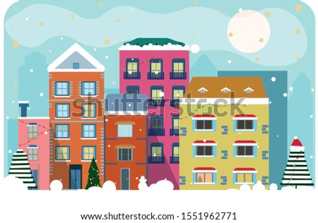 christmas city in daylight with