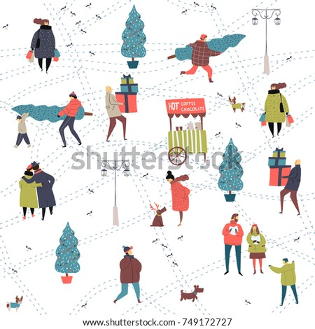 Christmas city preparations hand drawn seamless pattern with people
