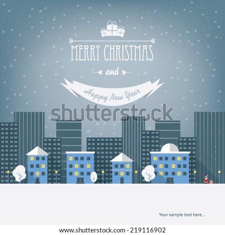 christmas cityscape card design