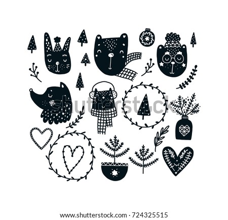 Christmas clipart set with cute animals, Black and white graphic. Vector illustration, Scandinavian style with dog, bear, cat