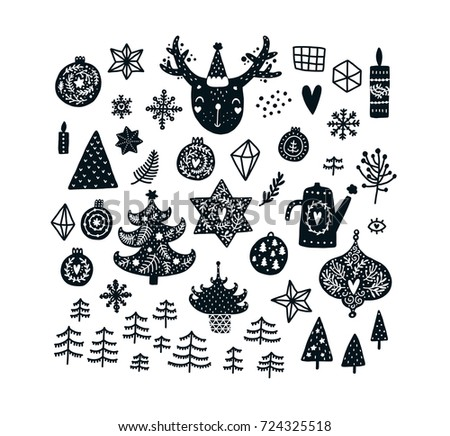 Christmas clipart set with cute animals, Black and white graphic. Vector illustration, Scandinavian style