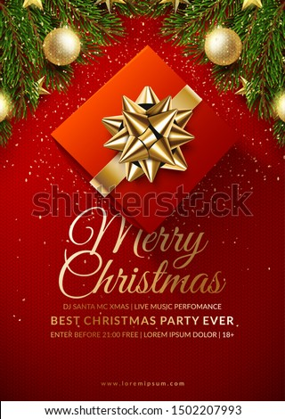 Christmas club poster design. Winter holidays background. Eps10 vector.