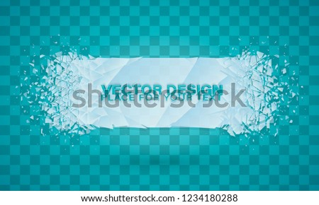 Christmas. Cold crystals frame. Crystal frozen structure. Vector frozen ice icicle frames for sale or winter school isolated on blue background. Blue winter empty banner templates wit snow caps.