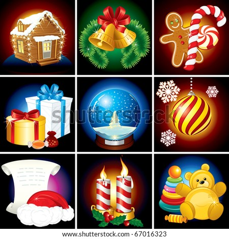 Christmas Collection. Festive vector Elements, Icons, Symbols and Illustrations - stock vector