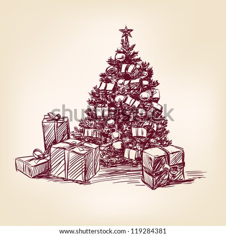 christmas collection hand drawn - stock vector