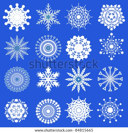 Christmas collection of different snowflakes vector illustration