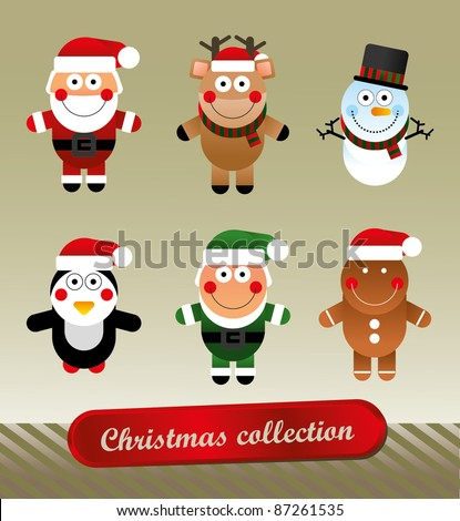 Christmas collection of funny characters