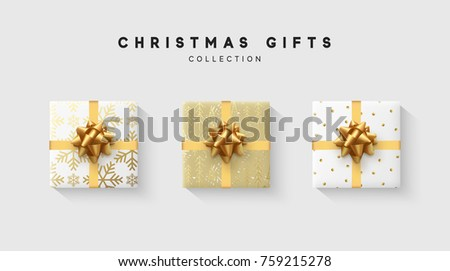 Christmas collection of gift box with bow and ribbon, is packed in funny foil pattern winter.