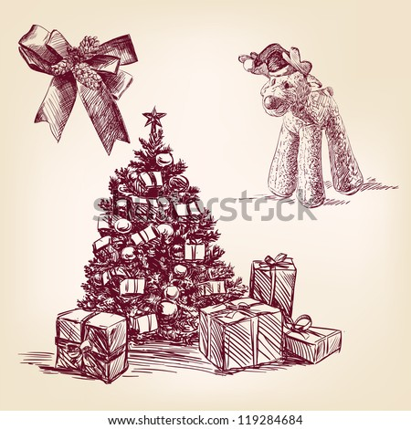christmas collection - vintage hand drawn vector illustration