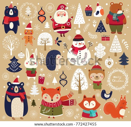 christmas collection with cute