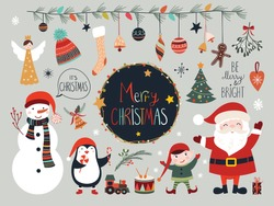 Christmas collection with seasonal elements, Santa and snowman