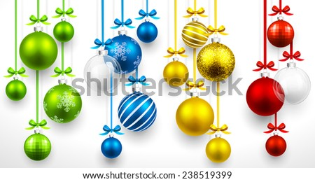 Christmas colored balls on light background. Vector illustration