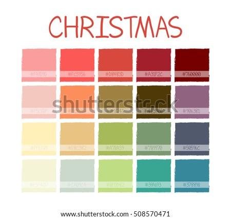 Christmas Colorful Tone Colors. Palette Scheme Pastel Vintage Colors. with Code. Vector Illustration