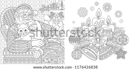 christmas colouring pages coloring book for adults santa claus with a cat new