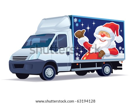 Christmas commercial vehicle - delivery truck with Santa Claus advertise.