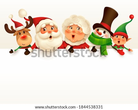 Christmas companions with big blank signboard. Wide empty space for design. Santa Claus, Mrs Claus, Reindeer, Elf and Snowman with big blank signboard.