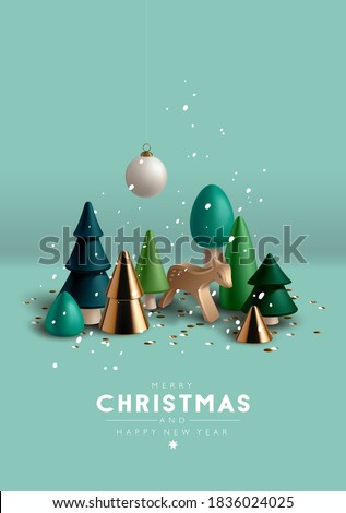 Christmas composition with Christmas trees and toy wooden deer