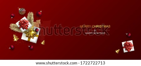 Christmas composition with  realistic gift boxes, Christmas tree branches. Red Holiday's Background