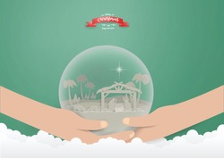 Christmas concept,Scene of baby Jesus in Snow globe on hands with faith in religion and belief in God.vector and Illustration