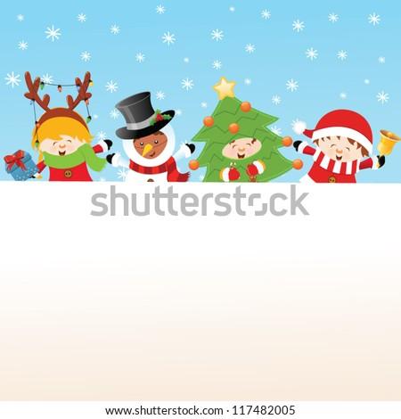 Christmas Costumed Kids Message