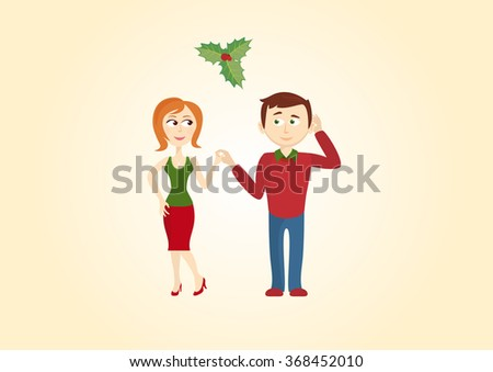 christmas couple under the