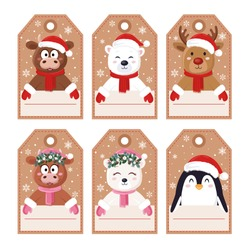 Christmas craft tags for gift boxes with cute characters. Cute bull, cow, bear, deer, penguin