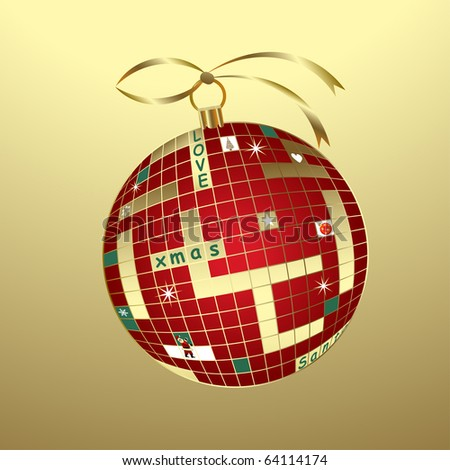 christmas crossword bauble (with santa, tree, star, snowflakes and text)