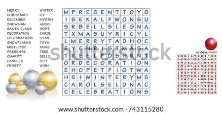 christmas crossword   find the