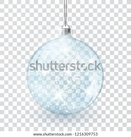 Christmas crystal glass ball on transparent vector background.